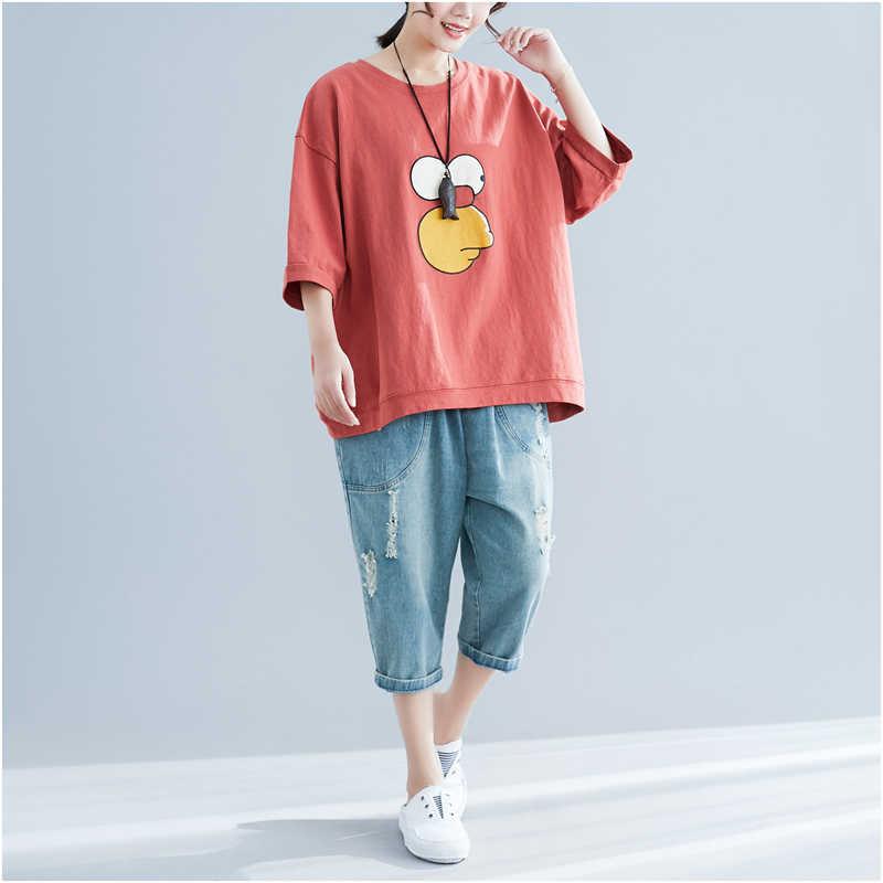 Plus Size Ladies Tshirts Cotton Cartoon T Shirt Women Summer Letter Print Tshirt Oversized T-Shirt 2019