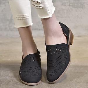 Image 5 - Fretwork sapatos femininos primavera outono baixo chunky salto apontado lado zip bombas de tornozelo curto sandálias oco para fora sapatos retro
