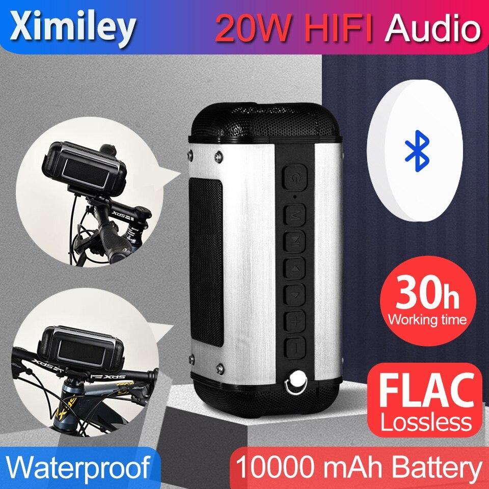 Portátil 20w bluetooth de alta fidelidade flac lossless alto-falante áudio 10000mah super power bass bicicleta alto falantes sem fio ao ar livre 30h tempo trabalho