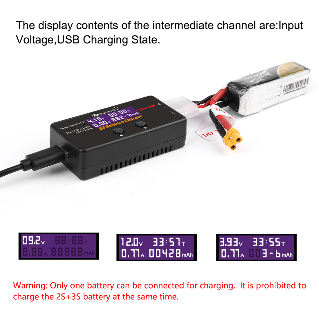 HOBBYINRC 18W Q3 Balance Charger Drone Battrey Charger With Screen For 2-3s LiPo LiHv LiFe Lilon