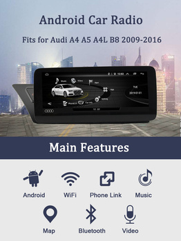Android 10 IPS 10.25 Inch Car Stereo Radio Multimedia GPS Navigation DVD Player WiFi BT SWC for 2009-2016 Audi A4 A5 S4 S5 image