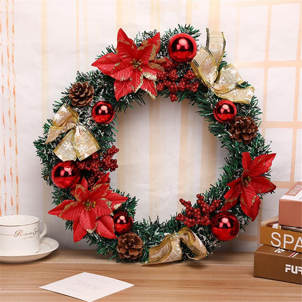 2019 New Year Christmas Wreath Artificial Flower Decoration Garland Ornament Christmas Door Decoration Wreath Ghirlanda Natale
