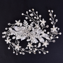 Pearl Crystal Flowers Hairpin Wedding Women Bridal Crystal Flowers Hairpin Hair Clip Hair Accessories Hair Jewelry ubuhle fashion women full pearl hair clip girls hair barrette hairpin hair elegant design sweet hair jewelry accessories 2019