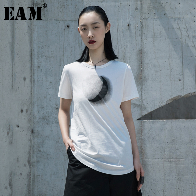 [EAM] Women White Pattern Printed Temperament T-shirt New Round Neck Short Sleeve  Fashion Tide  Spring Summer 2020 1W031 1