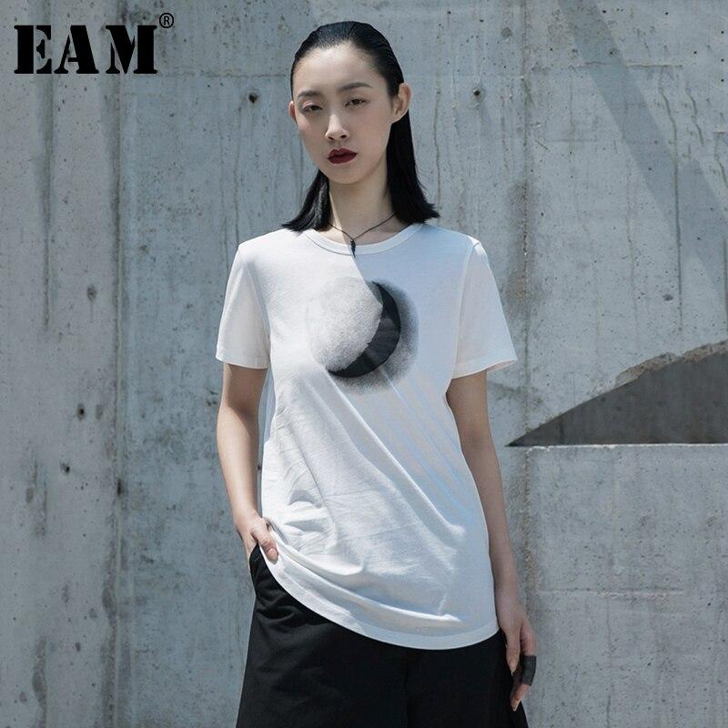 [EAM] Women White Pattern Printed Temperament T-shirt New Round Neck Short Sleeve  Fashion Tide  Spring Summer 2020 1W031 1