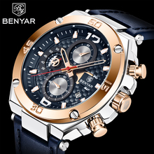 Benyar marca de luxo dos homens relógio quartzo couro relógio moda cronógrafo relógio pulso masculino do esporte militar relogio masculino