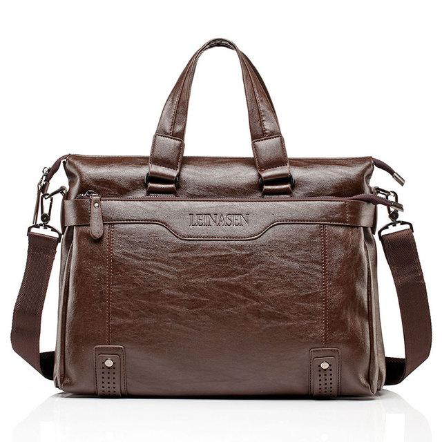 Mens Leather Briefcase PU Material 15inch Mens Shoulder Bag For Men Crossbody Bags 2019 Fashion Bussiness Briefcase handbag