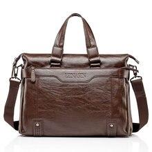 男性の革のブリーフケースpu素材15インチ男性のショルダーバッグデザインブランドショルダーバッグ男性バッグ2019ファッション商務ブリーフケースハンドバッグ