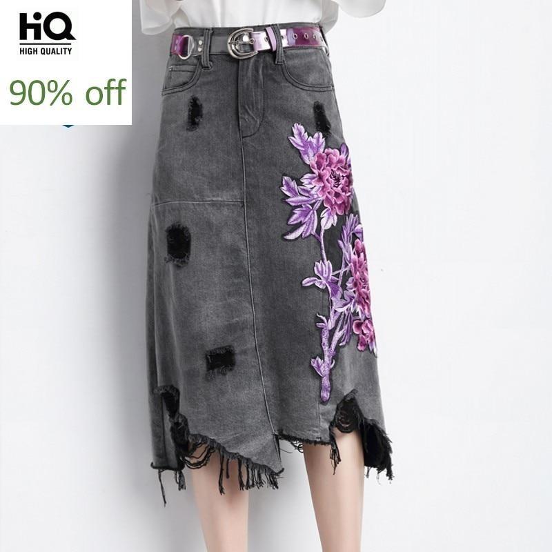 High Waist Floral Embroidery Hole Ripped Women Denim Skirts Fashion Irregular Tassel Knee Length Female A-Line Skirts Plus Size