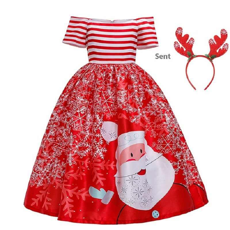 2019 vestido de Navidad para niña adolescente para graduación asista a vestidos de fiesta formales Santa Claus ropa larga para niñas traje de fiesta de chica