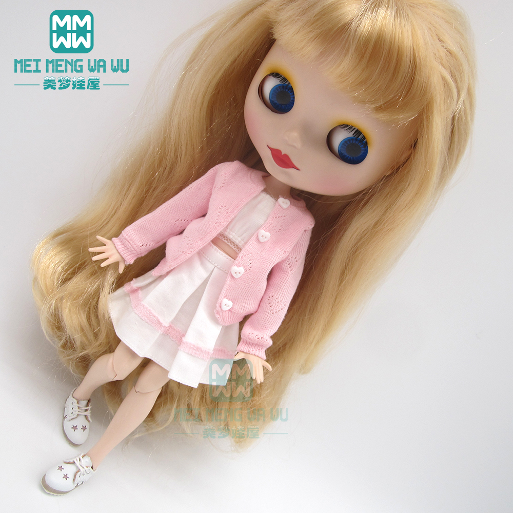 1pcs Blyth Doll Clothes Pink Sweater, Cardigan, Skirt For Blyth Azone OB23 OB24 1/6 Doll Accessories