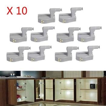 10Pcs LED Cabinet Light Smart Touch Induction Cupboard Inner Hinge Lamp Sensor Light Night Light Closet Wardrobe Kitchen Cabinet