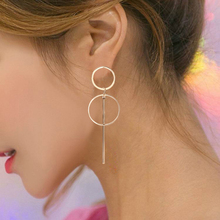 Simple Round Geometric Drop Earrings Korea Trend Gold Silver Alloy Dangle Earring For Women 2019 Fashion Jewelry Accessories