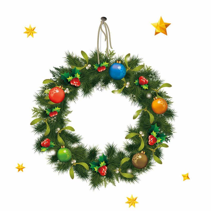 2020 Selamat Selamat Natal Lucu DIY Dua Sisi Natal Rotan Cincin Pintu Yang Dapat Dilepas Stiker Hadiah untuk Dekorasi Adornos De