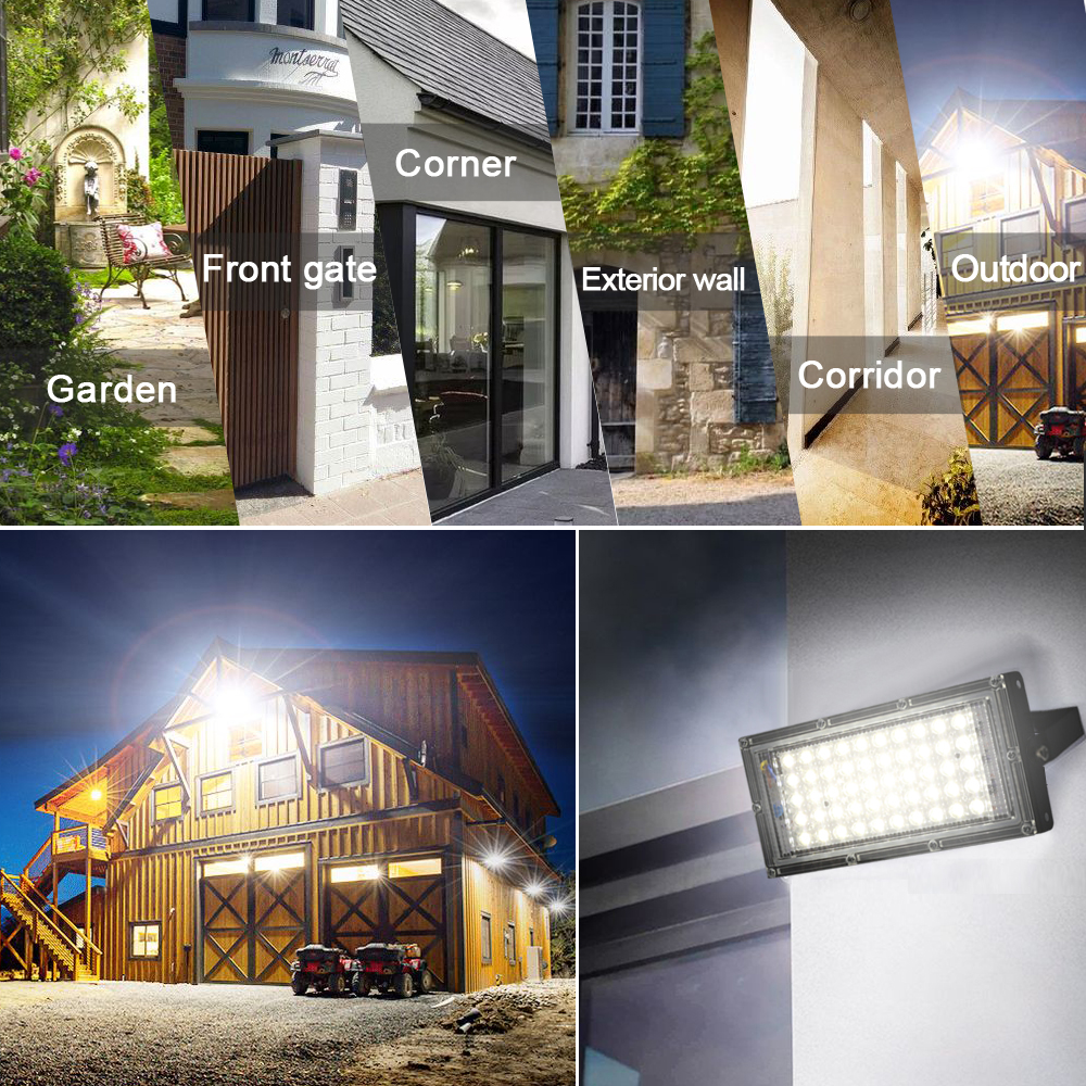 LED Flood Light 50W AC 220V 240V Outdoor Lighting Waterproof IP65 Floodlight LED Spotlight Big Power Fixture Reflector 6