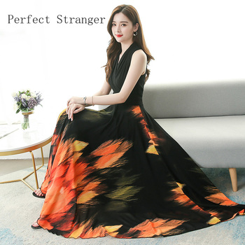 2020 Summer New Arrival Elegant V Collar Sleeveless Printed Women Chiffon Long Dress 1