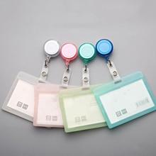 Plastic Retractable Transparent Badge Holder Elastic Clip Badge Reel Card Case Name Tag Work Badge with Badge Reel