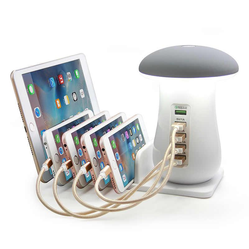 複数の 5 ポート USB 電話充電器キノコナイトランプワイヤレス充電ステーションドック qc 3.0 充電携帯電話