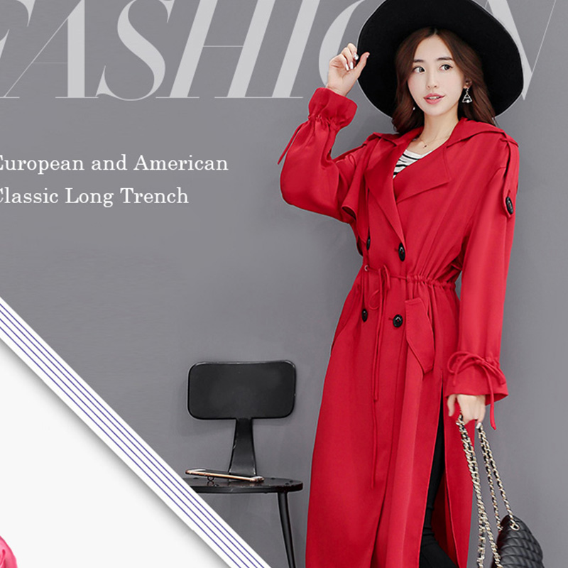 XS-3XL Spring And Autumn   Trench   Female Long Over-The-Knee   Trench   Women' Medium-Long Loose Elegant Slim Outerwear Cloak Black Red