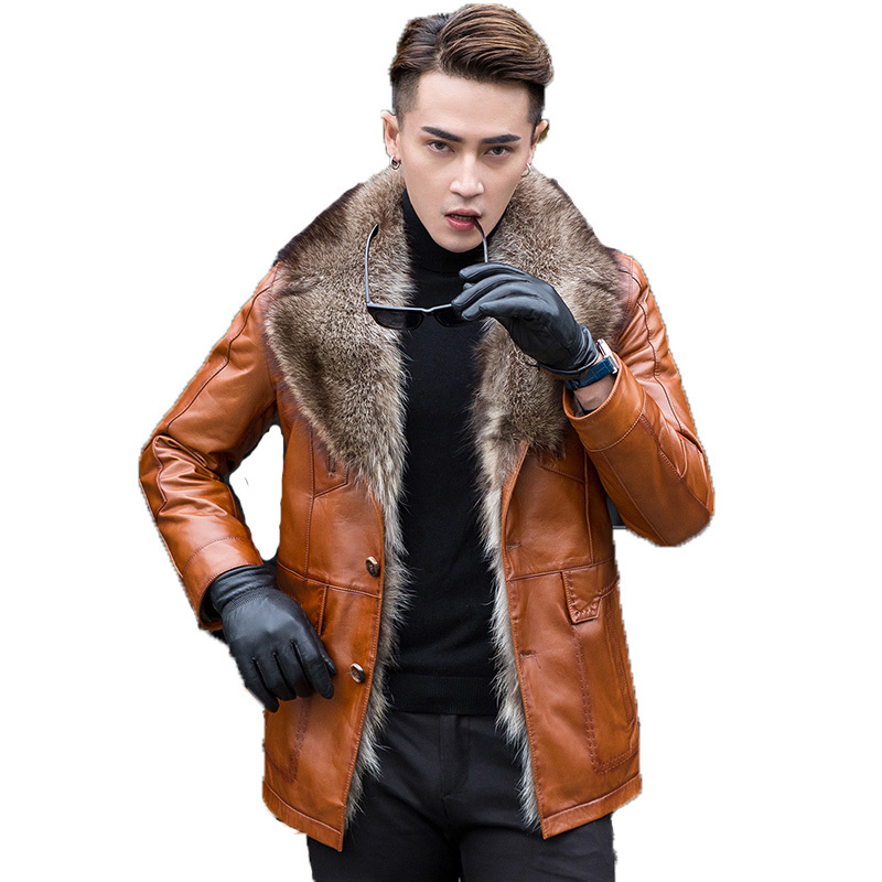 Leather Jacket Men Genuine Sheepskin Coat Winter Jacket Men Natural Raccoon Fur Coat Luxury Warm Jackets Chaqueta Hombre MY1661