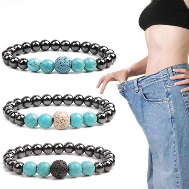 Pulsera de pérdida de peso de piedra biliar negra de moda para el cuidado de la salud adelgazamiento reducción de grasa producto de terapia magnética