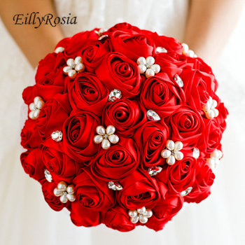 New Design Chinese Red Bridal Bouquet Holder Satin Roses Artificial Flowers Handmade Coral Wedding Bouquet Blue Flower Purple
