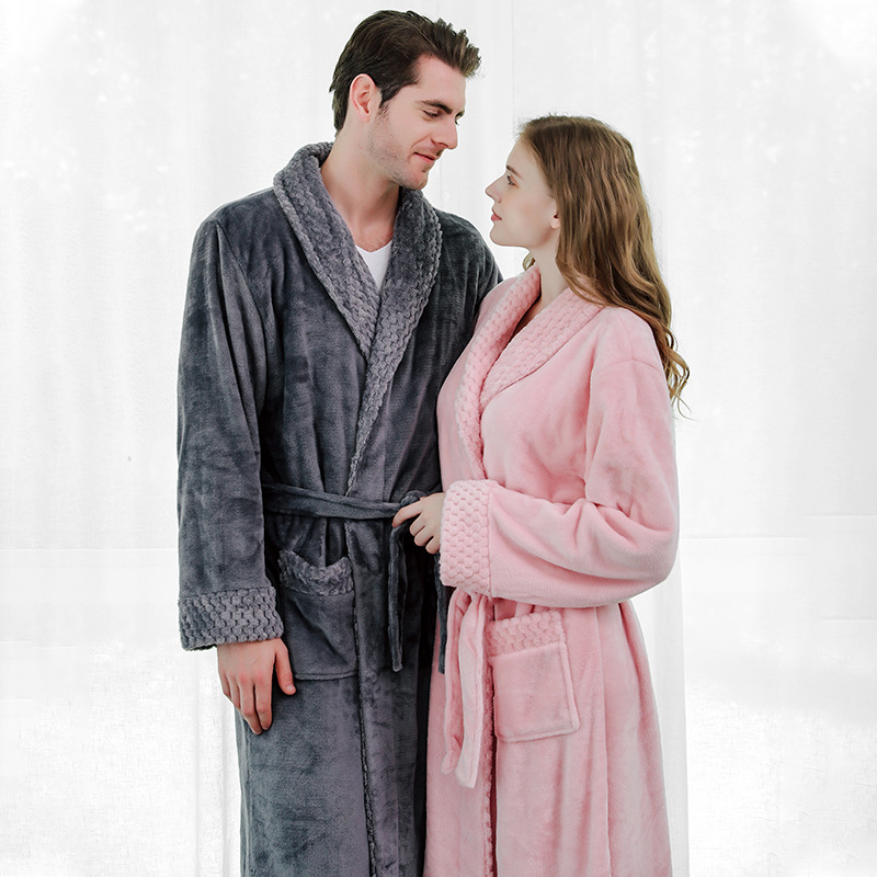 2019 Autumn and Winter Flannel Women's Sleep Lounge Long Robe Thick Men and Women Couple Pajamas Bathrobe Velvet Underwear