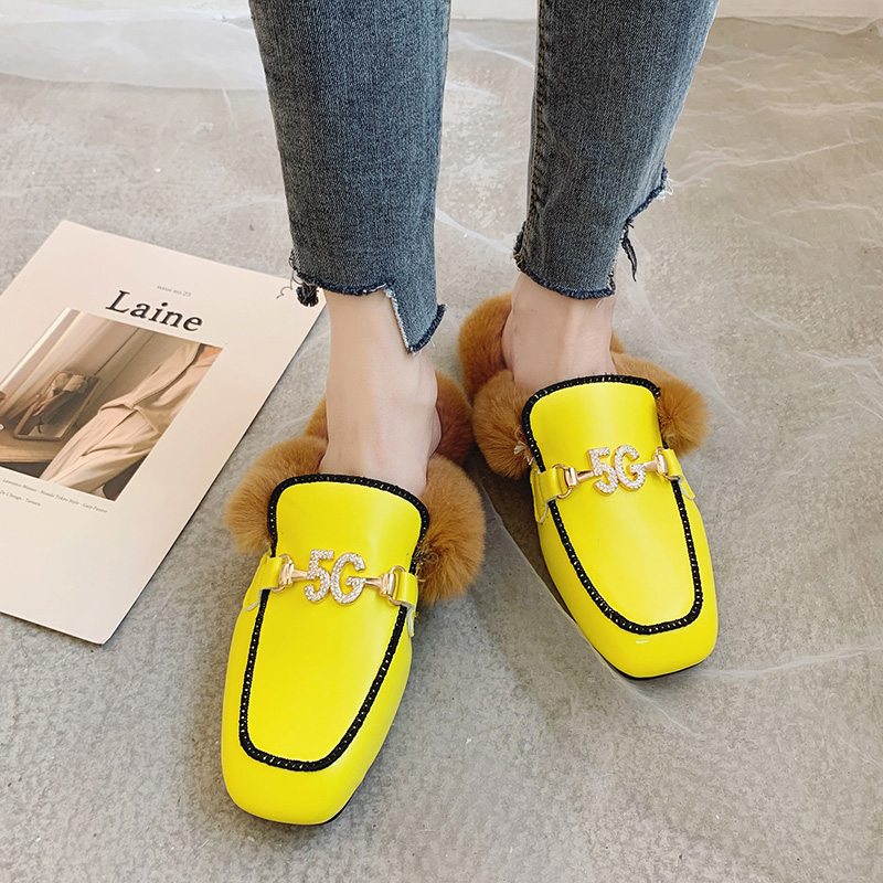Shoes Woman 2019 Slippers Fur Cover Toe Candy Colors Glitter Slides Fashion Mules Women Low Plush Jelly Square Flat Luxury 37