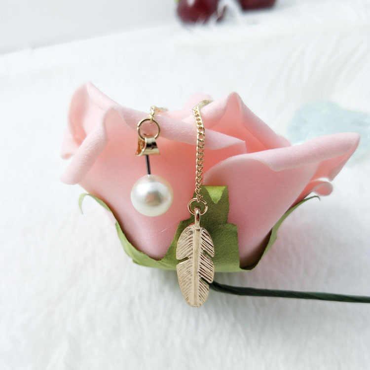 ยาวพู่ Simlated Pearl Leaf Feather Drop ต่างหูหมั้นแต่งงานเครื่องประดับ Brinco ขายส่ง