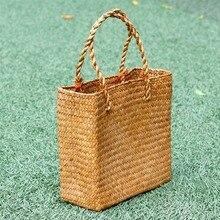 Модные соломенные летние женские пляжные сумки женские Лоскутные сумки дизайнерские женские Ретро Ротанговые ручной работы сумка-тоут