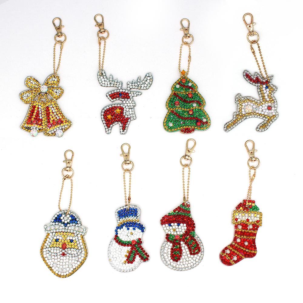 8Pcs Cristal Diamante Bonito Do Natal Bonito Tote Série Carteira Cheia de Diamantes Brilhando Chaveiro Carro Pingente de Acessórios de Decoração Para Casa