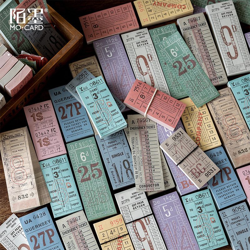 100pcs\\set  Vintage British Ticket  Colorful Retro  DIY Planner Can Write Note Ticket Stationery Notebook Message Strip