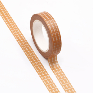 1PC 10MM*10M Yellow Brown Grid