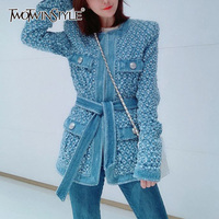 TWOTWINSTYLE-Chaqueta vaquera azul Vintage para mujer, con cinturón, con agujero rasgado, ropa de calle con bolsillos, manga larga, otoño 2020