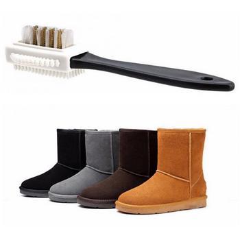 Czarna 3 boczna szczotka do czyszczenia zamszu buty nubukowe S kształt szczotka do czyszczenia butów szczotka do obuwia łyżka do butów akcesoria do pielęgnacji tanie i dobre opinie CN (pochodzenie) Z tworzywa sztucznego Cleaning Brush Other As the picture shown 1 pc 1*Shoe shiner Dropshipping