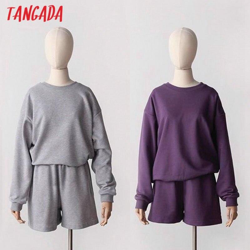Tangada 2020 Women's sents cotton suit 2 pieces sets o neck hoodies sweatshirt shorts suits 6L32