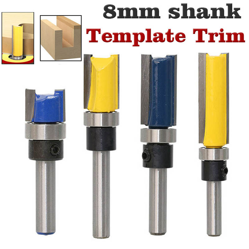 """8mm 1/4"""" Shank Woodworking Router Bit For Wood Tungsten Carbide CNC Tool Straight Trimming Milling Cutter With Bearing-in Milling Cutter from Tools"""