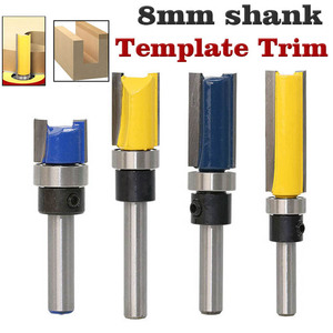 """8mm 1/4"""" Shank Woodworking Router Bit For Wood Tungsten Carbide CNC Tool Straight Trimming Milling Cutter With Bearing(China)"""
