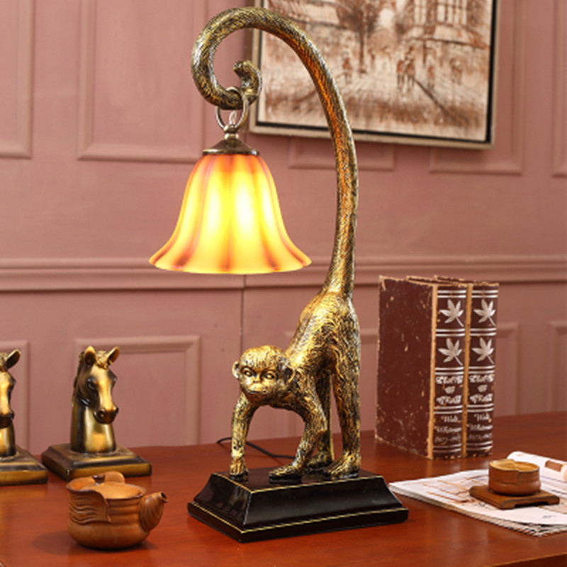 Lámpara de mono lamparas de mesa para el dormitorio lámpara de dormitorio mesa vintage lámparas de sala de estar para dormitorio lámpara