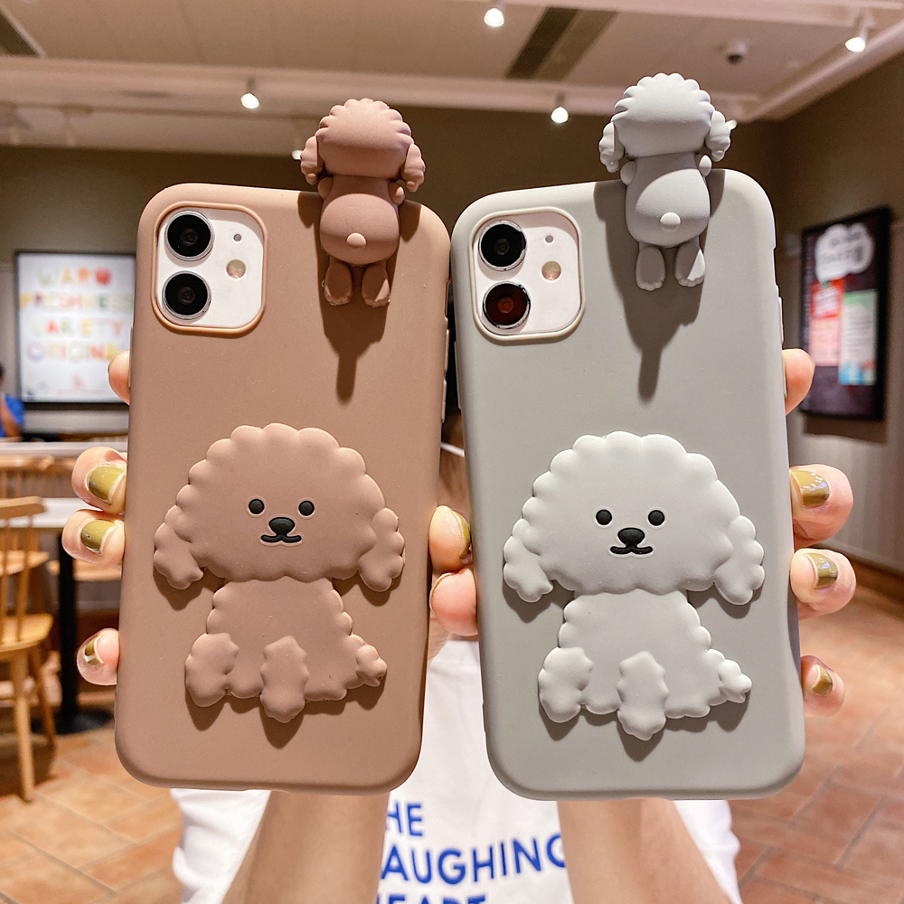 3D Silicone Cartoon Teddy Dog Phone Case For Iphone 11 Pro Max 5 5S SE 2020 6 6S 7 8 Plus X XR XS Max Cute Soft Cover