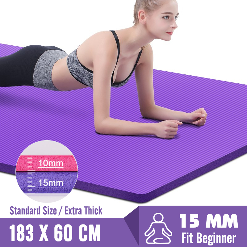 Yoga-Mats Fitness-Mat Supporting Exercise Non-Slip Pilates Gym Print Thickening 15MM