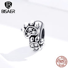 Footprints BISAER 925 Sterling Silver Animal Footprints Beads Dog Cat Jewelry Charms fit for Bracelets Silver 925 Jewelry(China)