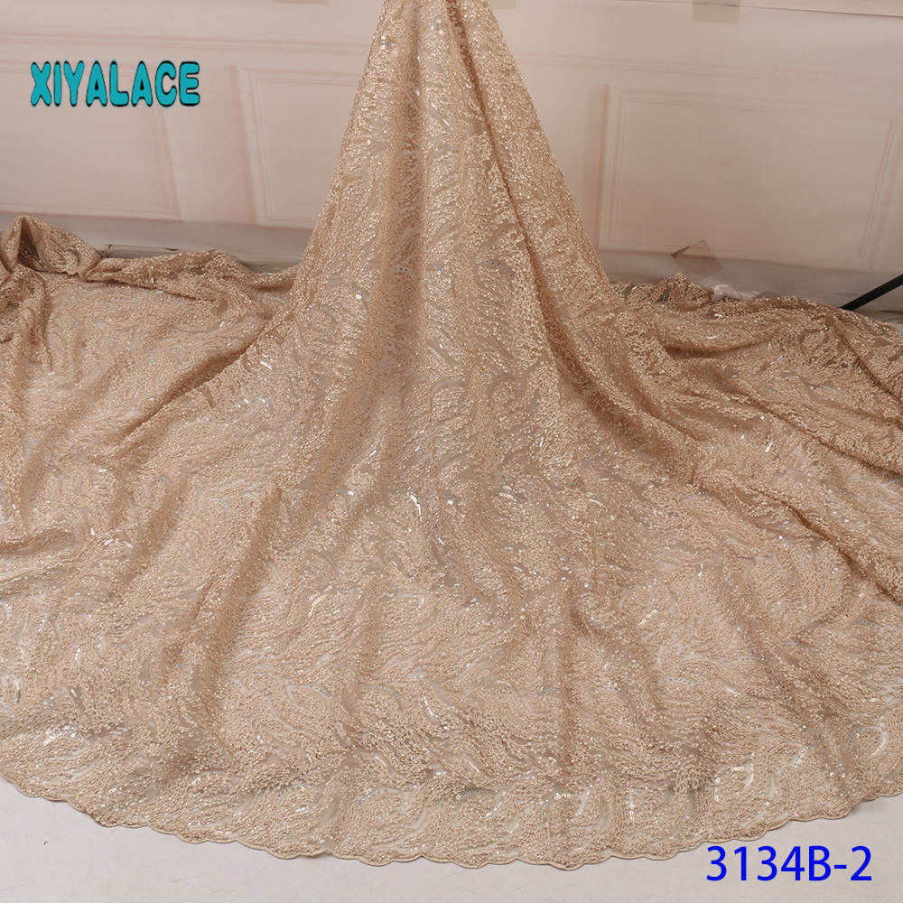 Luxury Nigerian Lace Fabric French Lace Fabric For Wedding Party Dresses Latest African Tulle Lace With Sequins YA3134B-2