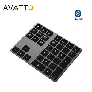 Сверхтонкая алюминиевая беспроводная клавиатура AVATTO с 34 клавишами, Bluetooth, цифровая клавиатура с номером и ножничным переключателем для пла...