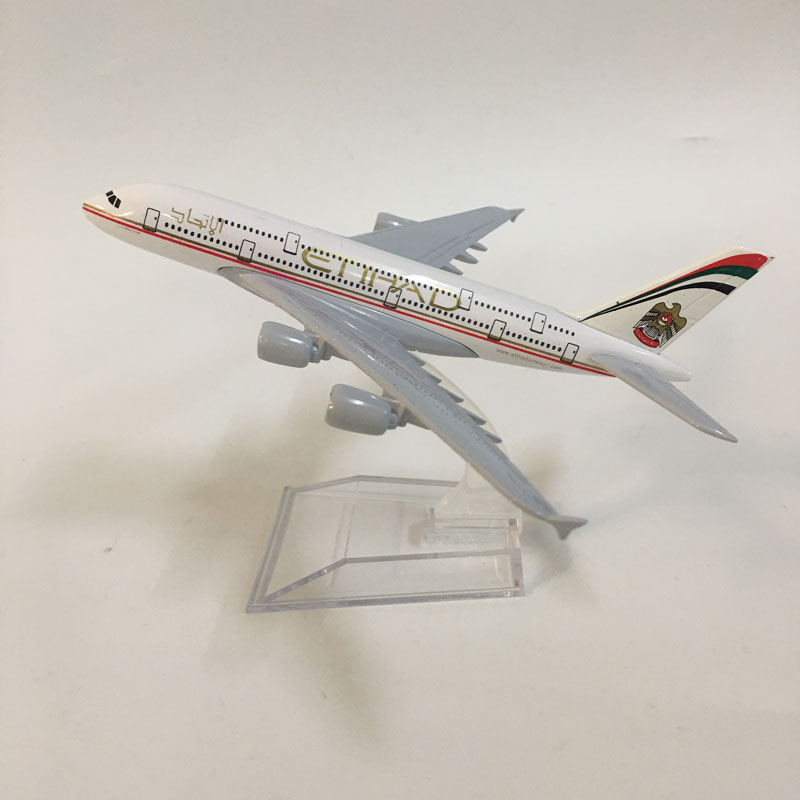 JASON TUTU 16cm Plane Model Airplane Model Etihad A380 Aircraft Model Diecast Metal 1:400 Airbus A380 Airplanes Model Plane Toy