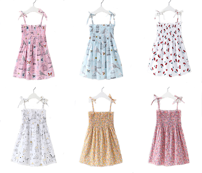 2020 New Summer Baby Fashion Princess Floral Backless Sling Dress Girls  Clothing Children Clothes Dresses