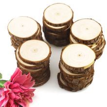 50pcs Round Unfinished Wood Slices Circles with Tree Bark Log Discs DIY Crafts Wedding Party Painting