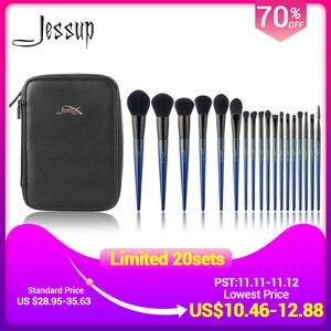 Image 1 - Jessup Makeup brushes 18pcs Make up brush set & 1PC Cosmetic bag women Powder Foundation Contour Pencil eyeshadow brushes