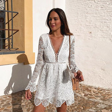 For The Beach Swimwear Cover Up Women Swim Skirt Ups Robe Coverup Wear Long Sleeve Neck Dress Lace Embroidery Hollow Solid