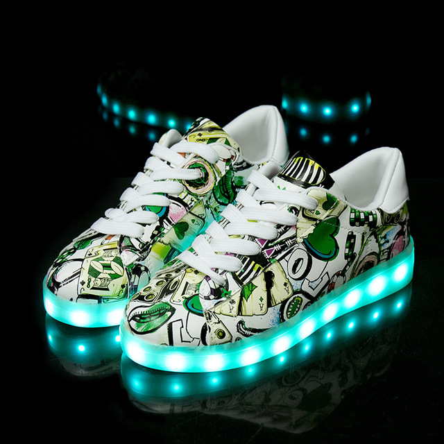 Image 3 - Size 27 40 Fashion Good Children LED Glowing Luminous Sneakers With Light Up Shoes for Kids Boys Girls Baskets LED Slippers 36-in Sneakers from Mother & Kids